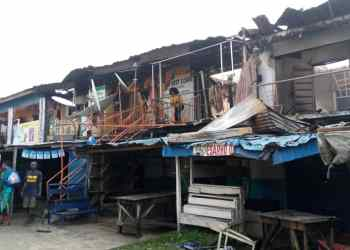 Scene of the fire outbreak at Jugbale market in Udu, Delta State