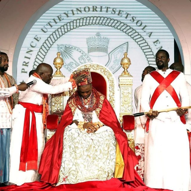 His Majesty, Ogiame Atuwatse lll during his coronation on Saturday at Ode-Itsekiri in Warri South LGA of Delta State.