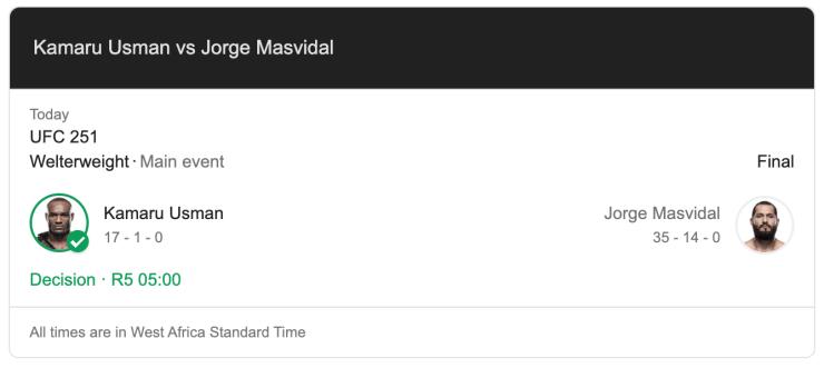 kamaru usman vs jorge masvidal scores of UFC 251