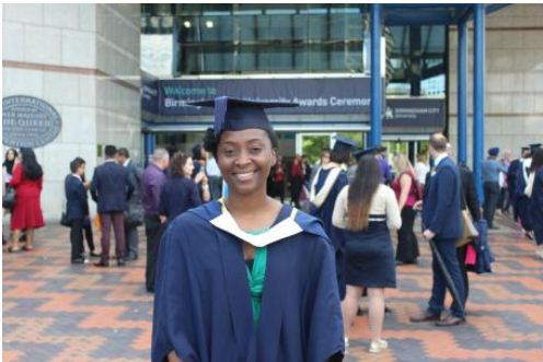 Anu Yusuf in her graduation gown