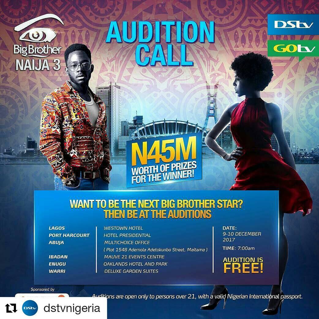 BBNaija 2018 Audition Dates
