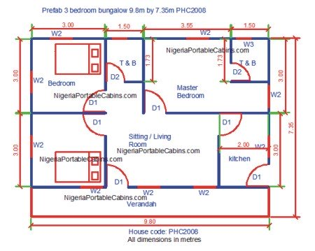 Xprefab 3 Bedrooms Bungalow Plan Nigeria 9 8by7 35phc2008 Pagesd Ic Vw10almlpj