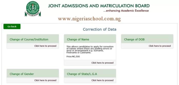 Jamb Correction Data