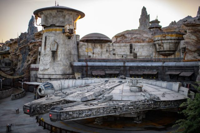 The Millennium Falcon in all its glory at GALAXY'S EDGE