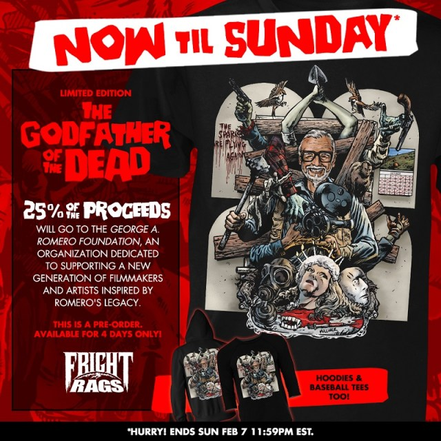 [News] Celebrate GEORGE ROMERO's Birthday with Fright-Rags' Tribute Design