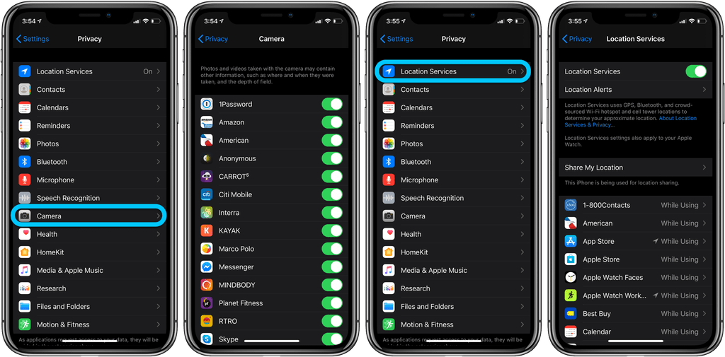 how to check which iphone apps have camera and mic access2832556338