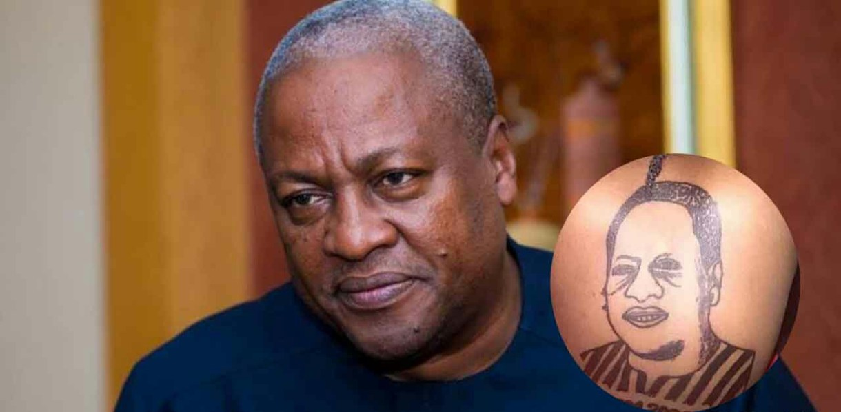 Ghanaian lady with a tattoo of Mahama at her back causes confusion on social media 1