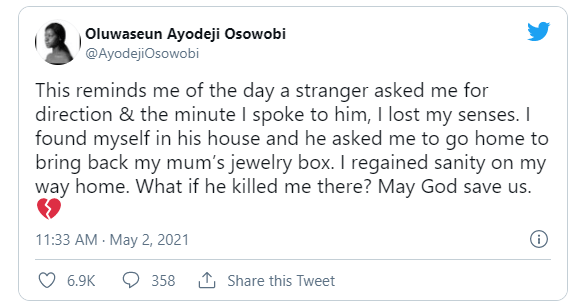 A man asked me for direction, immediately I spoke to him, I found myself in his house'– Lady shares chilling experience