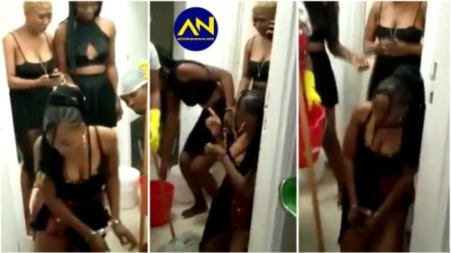 Slay Queens handcuffed & disgraced after a man left them in a hotel with huge bill [video]
