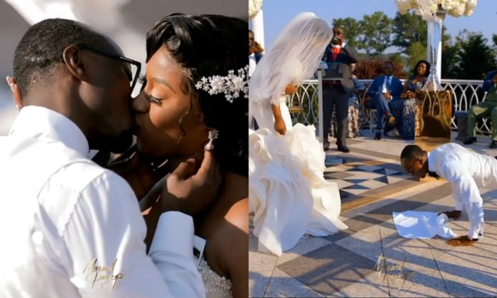 Groom Does Press Up To Be Able To Kiss His Bride Very Well (+VIDEO)