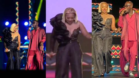 Lovely moment Okyeame Kwame reunites with his ex-girlfriend Nana Ama McBrown on VGMA stage (Video)