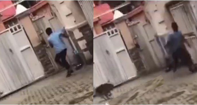 Moment boy being chased by a dog jumped over a high fence without touching it | VIDEO