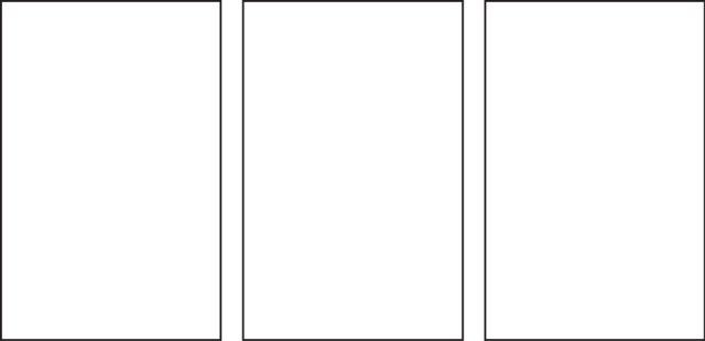 three vertical panels