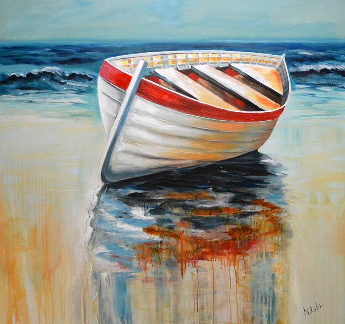boat painting on canvas