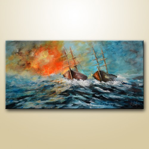 Abstract sailboat Painting