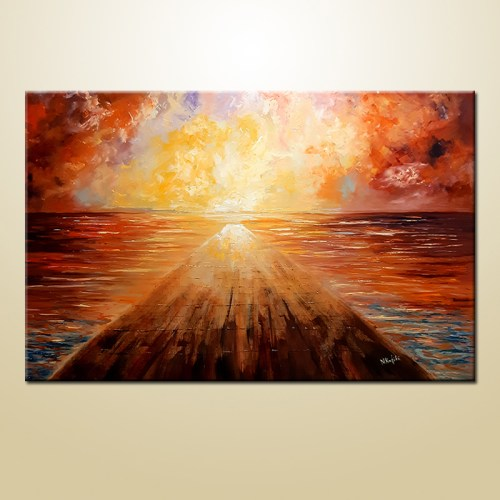 sea painting sunset