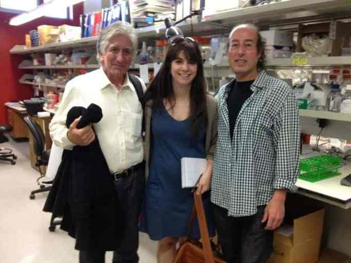 The author (center) with Francisco Lopera (left) and Ken Kosik (right) at Kosik's lab, the University of California-Santa Barbara.