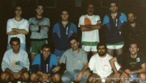 Equipo Senior del Olímpico 64. Arriba: Vicente, ¿?, Nicolás, Pedro, Carlos y Toñin. Abajo: Javier Amo, Eduardo, Luis, Humanes y Paco de la Torre.