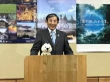 統合型リゾート(IR)誘致を巡り、和歌山県の基本構想を発表する仁坂吉伸知事(8日、和歌山市)