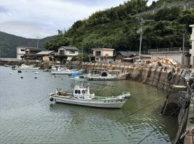 穏やかな愛媛県宇和島市内の沿岸部。右奥にはがれきが積み上がっている