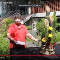 門松の説明をするブラジル生け花協会のビデオ