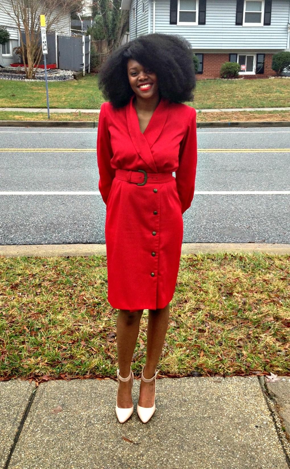 Vintage Red Long Sleeve Dress 1