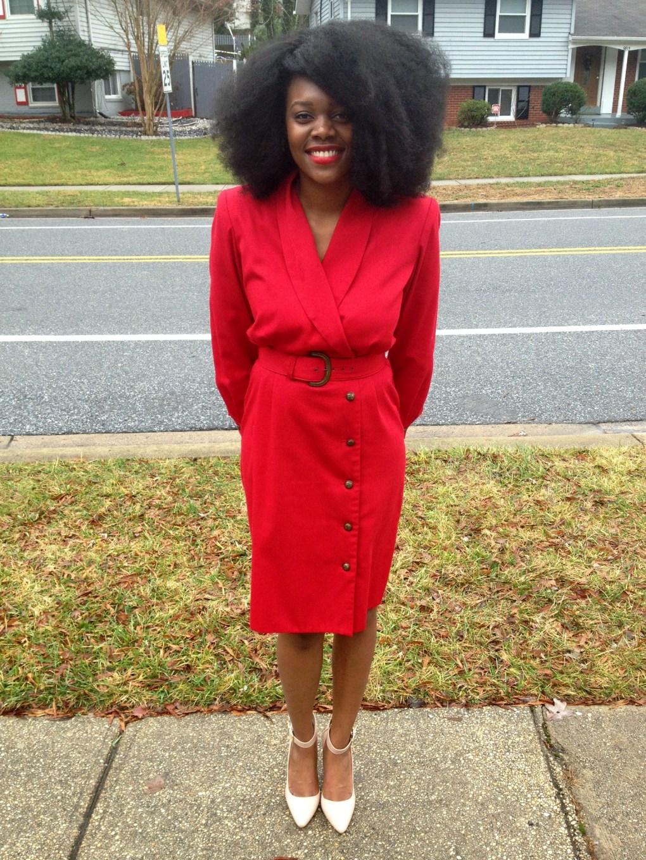 Vintage Red Long Sleeve Dress 10