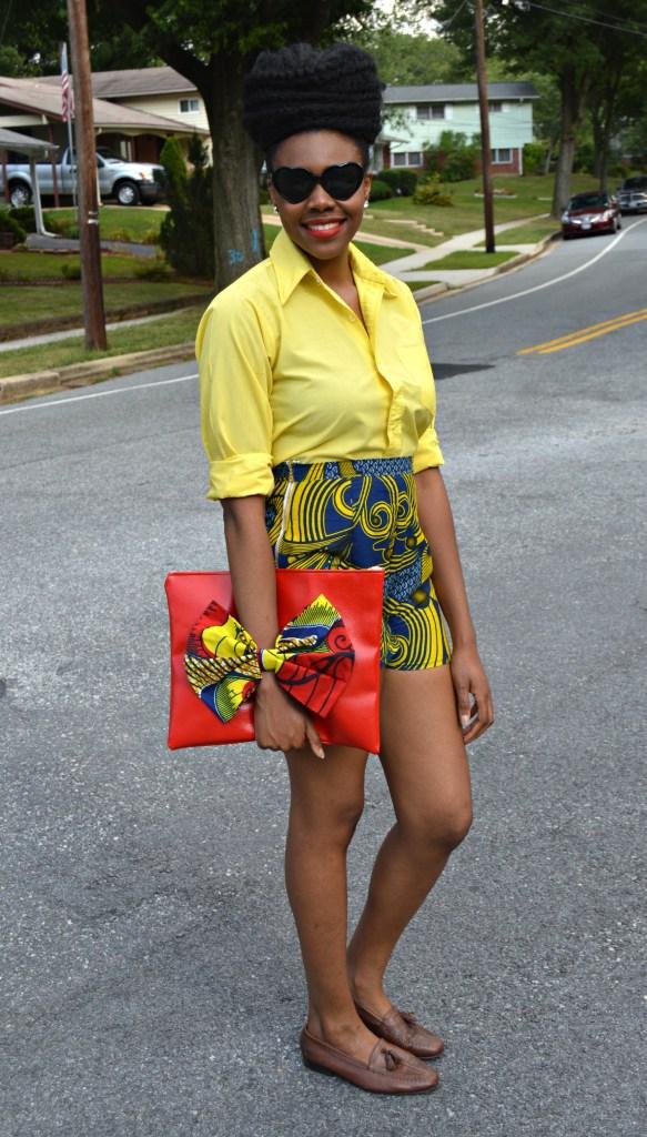 Nikki Billie Jean's Blue Ankara Print Shorts and Red Bowtie Bag for The Naturalista Hair Show 2014 2