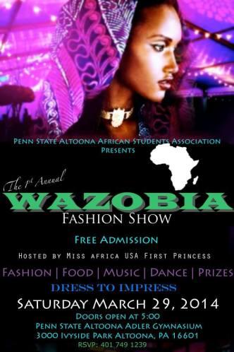 Wazobia Fashion Show Penn State Altoona 2014