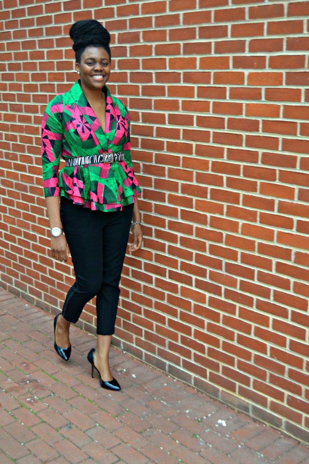 Nikki Billie Jean Pink and Green Ankara Print Peplum Jacket 13
