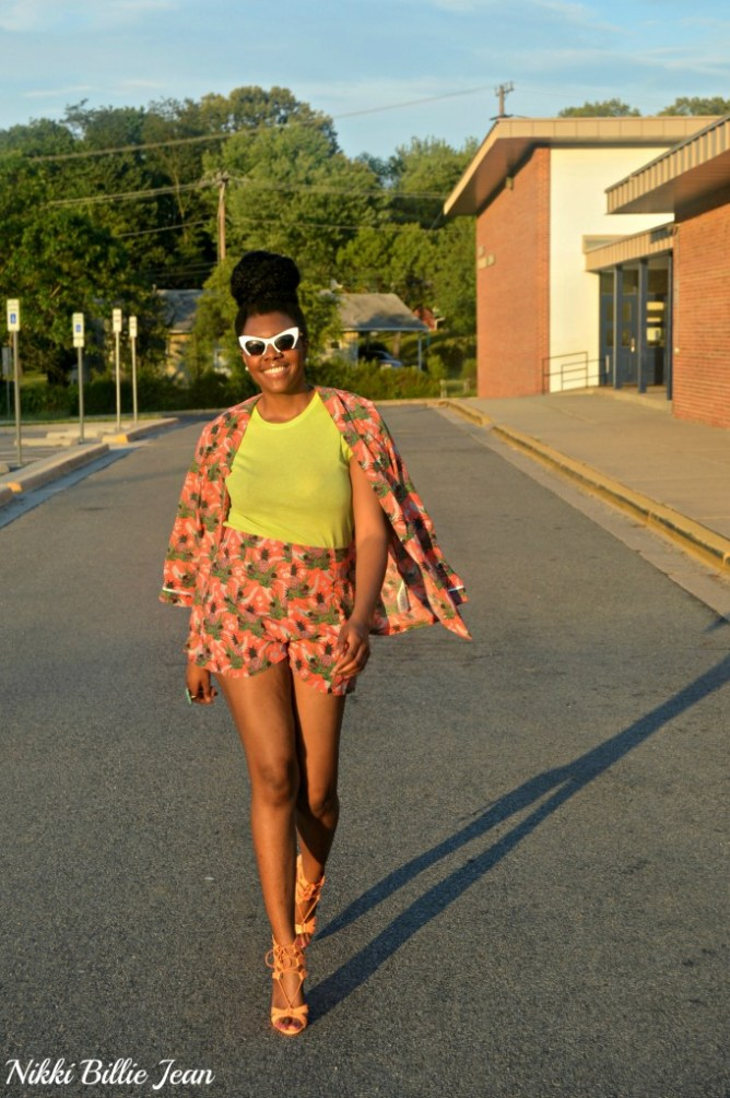 Nikki Billie Jean ASOS Pineapple Print Blazer & Shorts with Steve Madden Maiden Lace Up Sandal Heels 2