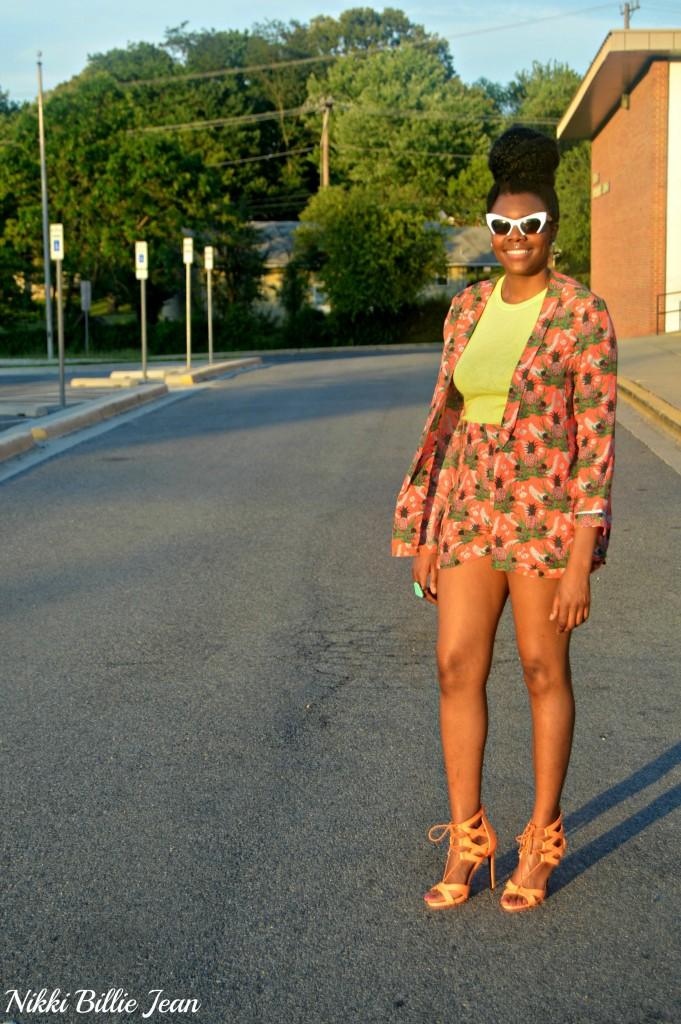 Nikki Billie Jean ASOS Pineapple Print Blazer & Shorts with Steve Madden Maiden Lace Up Sandal Heels 5