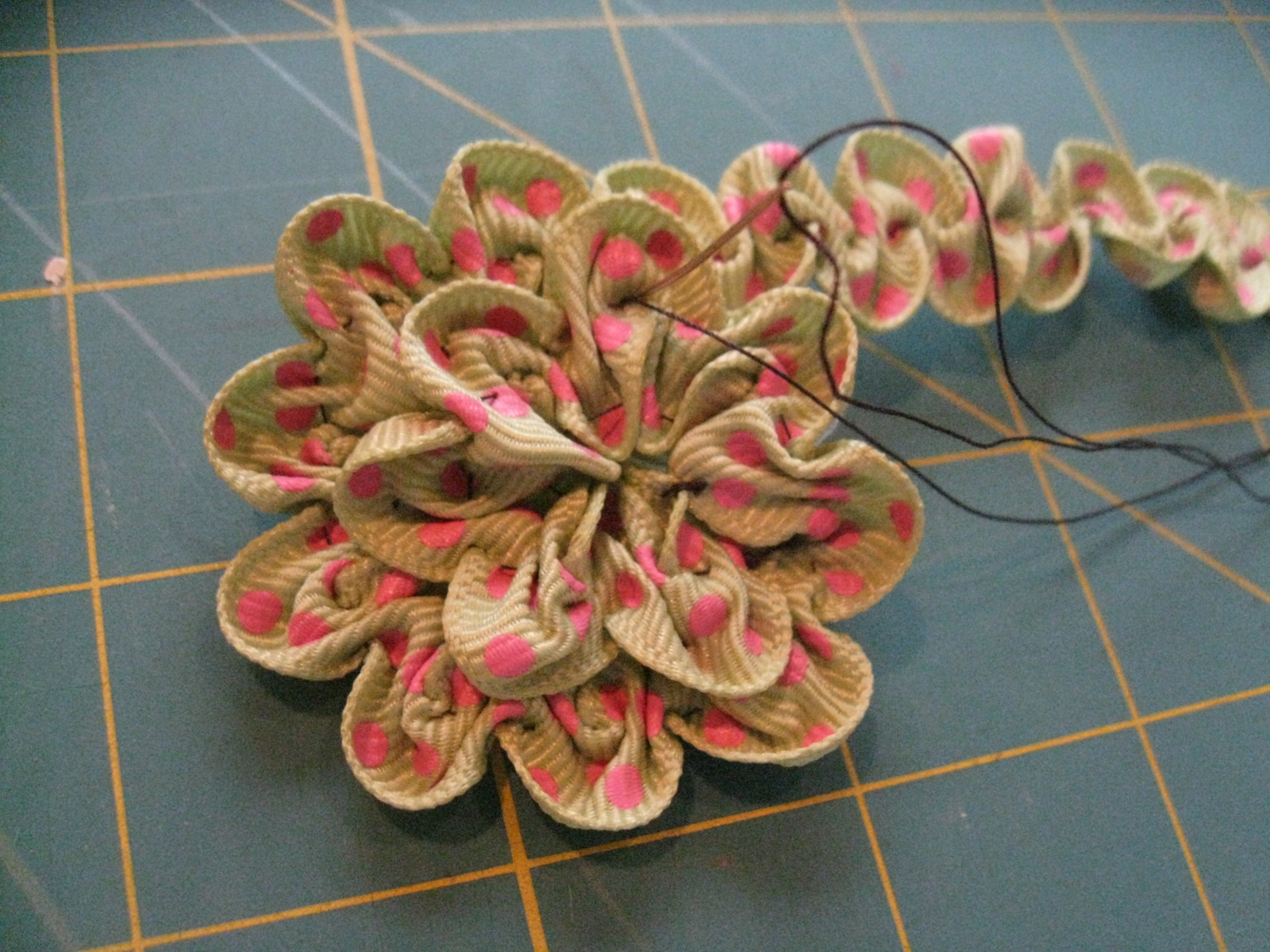 Top 10 Countdown   5  Ruched Ribbon Flower   Nikki  In Stitches     Ruched Flower  Step 8b