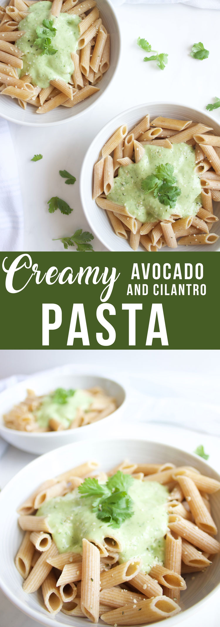 Creamy Cilantro and Avocado Penne {Gluten Free and Vegan} www.nikkisplate.com
