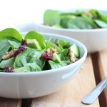 Cranberry and Walnut Spinach Salad with Honey Ginger Dressing