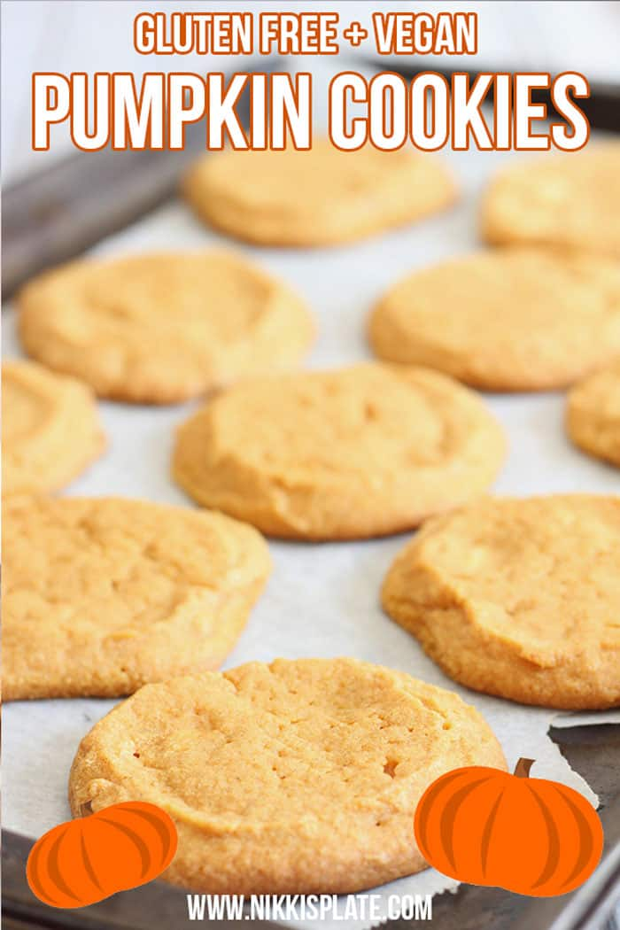 Healthy Gluten Free Pumpkin Cookies; easy bake pumpkin spice treat for the fall and halloween. Holiday dessert made with pumpkin puree and coconut sugar { white sugar free, vegan, GF} #pumpkincookies #fallbaking