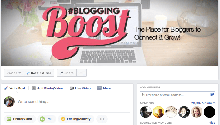 Blogging Boost is a great Facebook group for bloggers, where bloggers can share tips on how to connect and grow their blog