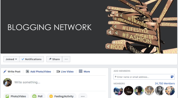Blogging Network is a popular Facebook group for bloggers who are trying to grow their network