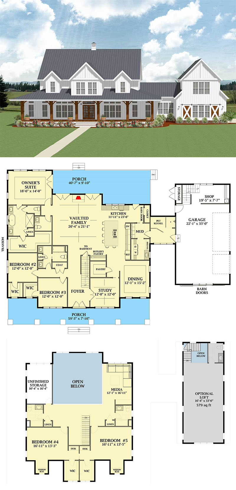 Most Popular Farmhouse Plans - Blueprints, layouts and details of the best farmhouses on the market. Building your dream home in the country? Get all your needs here! #farmhouseplans #farmhouse #blueprints #layouts