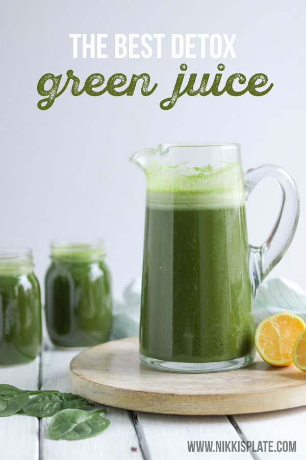 This detox green juice recipe helps you lose weight, get healthy and detox your body. Its delicious and easy to make! #greenjuice #detoxjuice #greenjuicerecipe #juicecleanse #greenjuicecleanse | Nikki's Plate