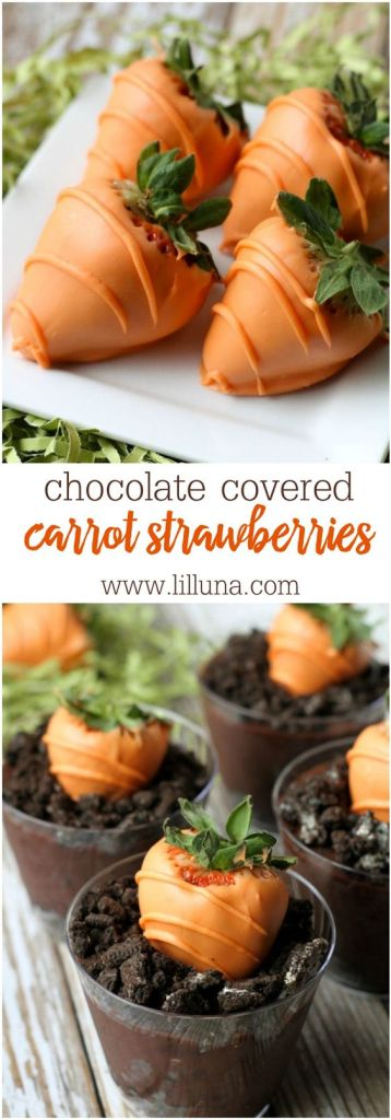 Chocolate covered Carrot strawberries || Cute Easter Recipes || Dessert - www.nikkisplate.com