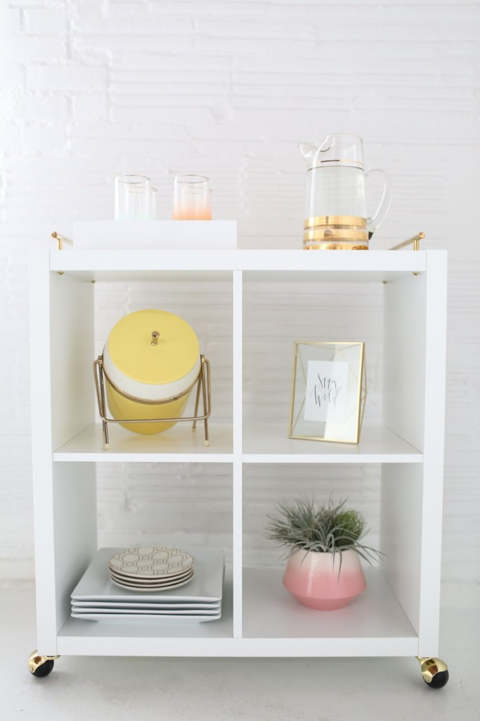 13 Ikea Hacks You Haven't Seen Yet; unique and amazing ways to transform your Ikea purchases into fabulous home decor. || Creating a Bar Cart - Nikki's Plate www.nikkisplate.com