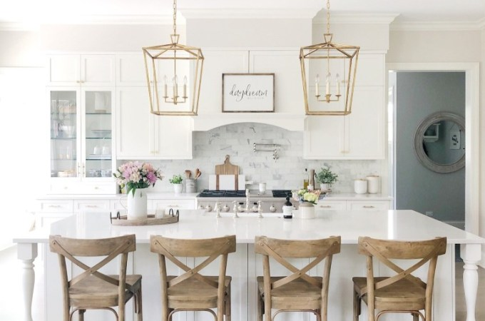 White Kitchen Designs You Haven't Seen Yet! Beautiful white kitchen inspiration for your remodel. Marble Countertop, black pendant light, island, bright white #whitekitchen #modern