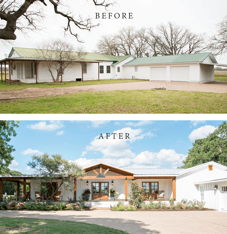 Best House Exterior Renovations By Joanna Gaines; Here are the best before and after reveals on the show Fixer Upper. House Front, Curb Appeal and Home Front. || country House, bungalow, major Reno