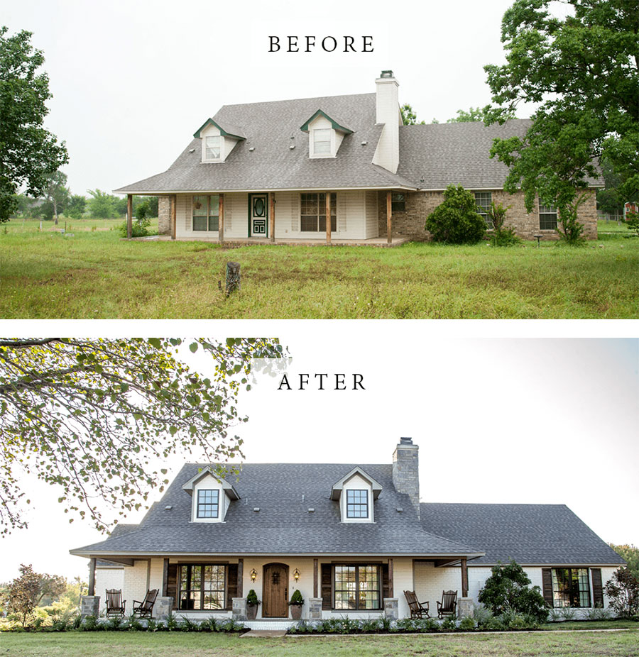 Best House Exterior Renovations By Joanna Gaines; Here are the best before and after reveals on the show Fixer Upper. House Front, Curb Appeal and Home Front. || Southern House, two story, brick painted
