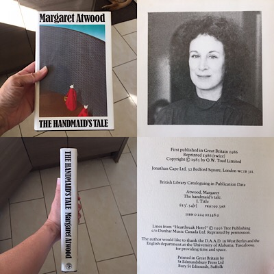 A panel of images featuring Margaret Atwood and The Handmaid's Tale First edition from 1985