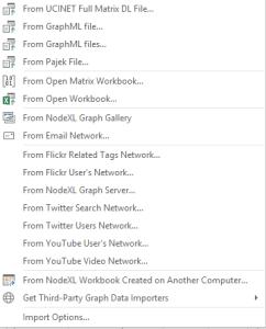 NodeXL Import Menu