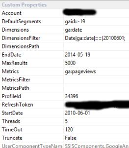 Google Analytics SSIS Custom Properties