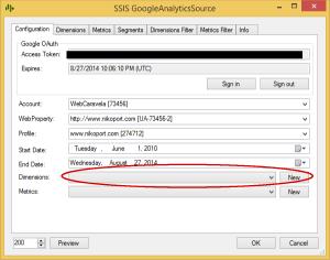 GoogleAnalyics Select Metrics FileConnection