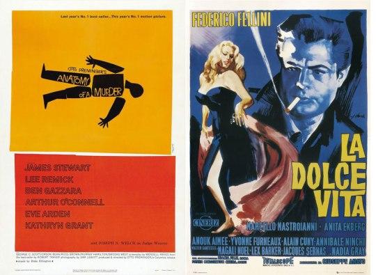 1959: Anatomy of a Murder Τόσο, μα τόσο μοντέρνα!! Minimal με 4 χρώματα. Brilliant. 1960: La Dolce Vita Μια εντυπωσιακή γυναίκα, ένας άντρας να καπνίζει και μυστήριο. Αυτό θα πει Dolce Vita!